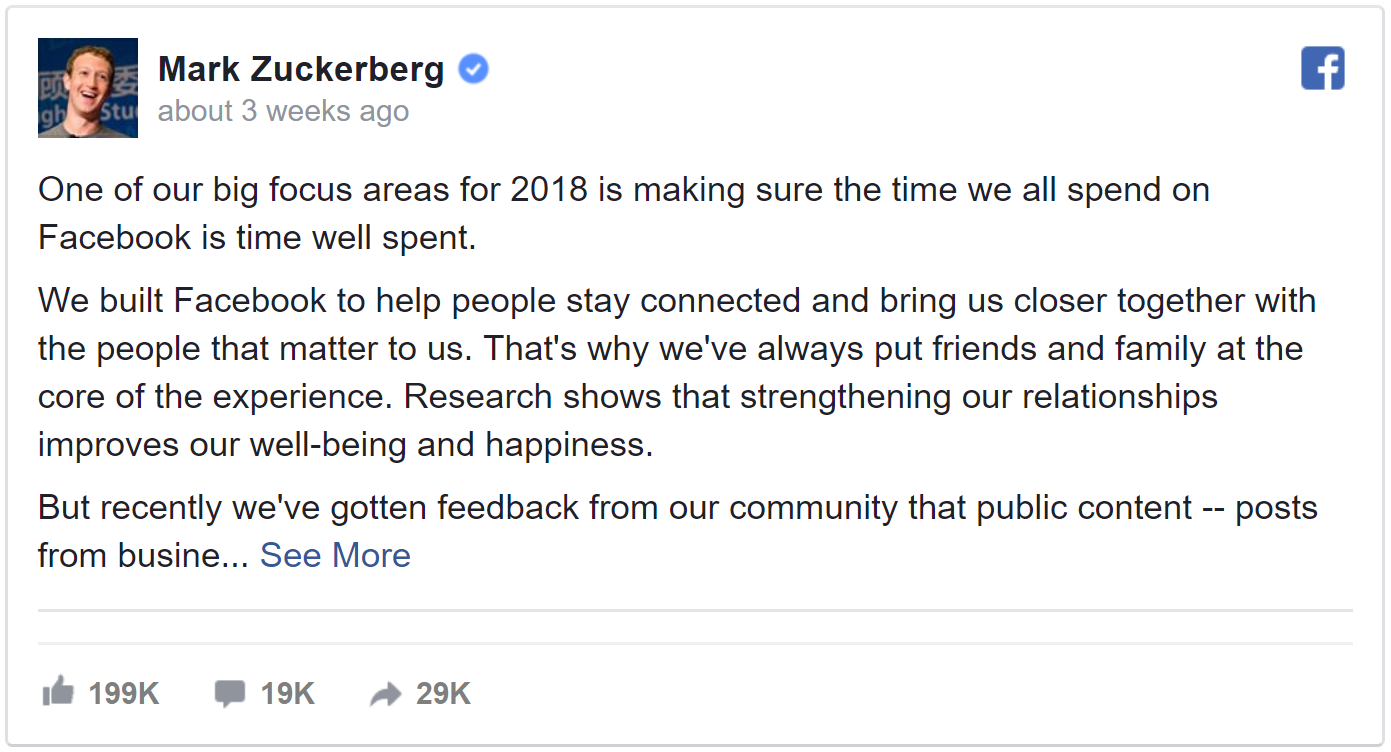2018 Facebook Feed Update